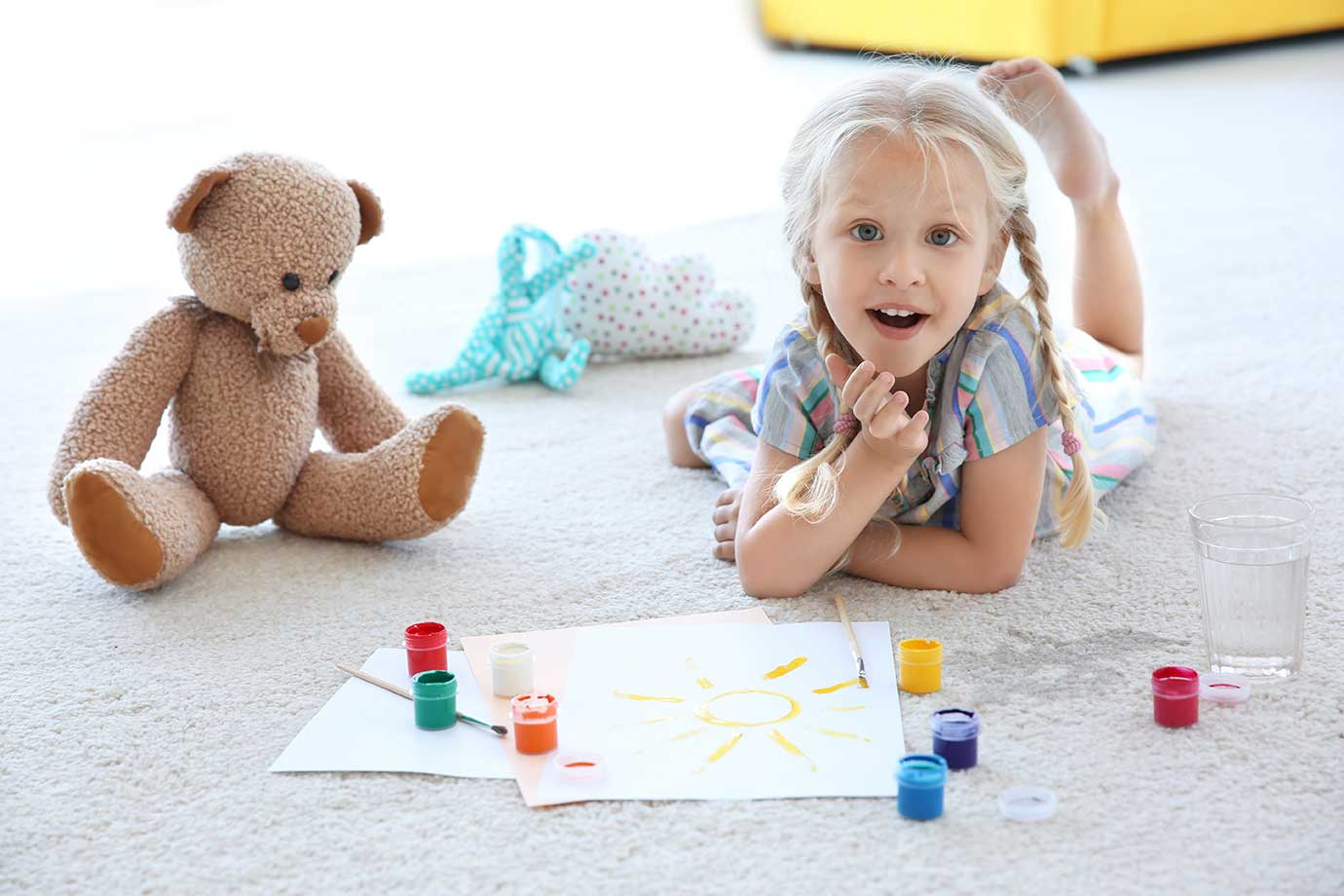 Girl spilt paint on carpet - Carpet Cleaning the BUTLER cleaning co Gatton