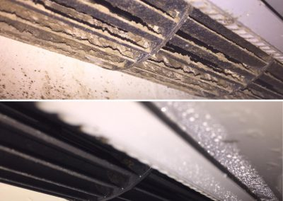 before and after photo of mouldy air conditioner the butler cleaning co laidley